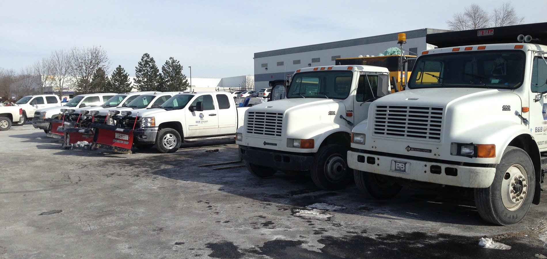 SNOW REMOVAL INDIANAPOLIS: B&B Group Inc. Fleet of Trucks & Snow Plows