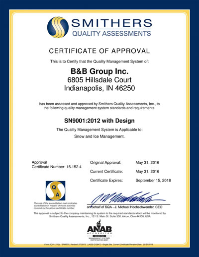 ISO 9000 SN9001 Certificate - B&B Group, Indianapolis, IN