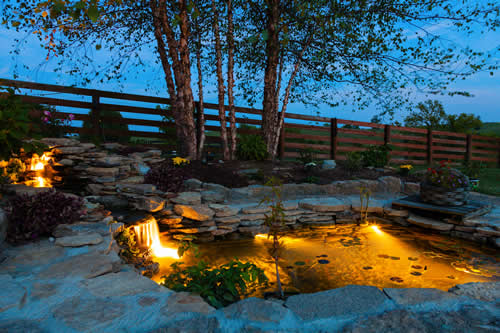 Landscape Lighting - Pond Lights - Outdoor Lighting Design - B&B Group, Indianapolis IN